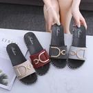 夏外穿水鉆拖鞋女時尚百搭涼拖一字中跟社會女士學生韓版拖鞋沙灘 依凡卡時尚