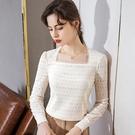 鏤空法式復古方領上衣設計感修身素色蕾絲衫(二色S-2XL可選)/設計家 AL301087