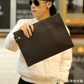 新款韓版手拿包 商務休閒手包潮男薄信封包 A4紙公事包Ipad包潮包 艾美時尚衣櫥