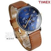 TIMEX 天美時 大錶徑羅馬刻度三眼腕錶 藍x淺咖啡 真皮錶帶 男錶 學生手錶 TW2R29100