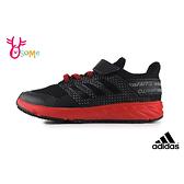 adidas童鞋FORTAFAITO 透氣慢跑鞋 男童跑步鞋 輕量運動鞋 魔鬼氈 R9344#黑紅◆OSOME奧森鞋業