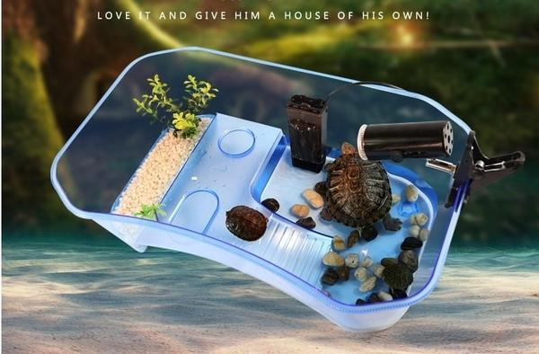 (只能宅配)小烏龜缸長40寛23(空缸)兩棲烏龜缸曬台巴西龜缸烏龜盒養烏龜的缸水龜別墅