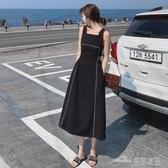 當當衣閣-白色吊帶連衣裙夏裝 新款性感露背氣質收腰 黑色背帶裙子女