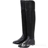 TORY BURCH SIMONE OVER 拼接設計過膝長靴(黑色) 1540542-01