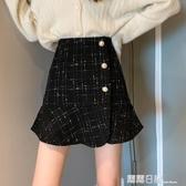 裙子女裝2020秋冬季新款格子半身裙高腰a字包臀裙荷葉邊魚尾短裙 露露日記