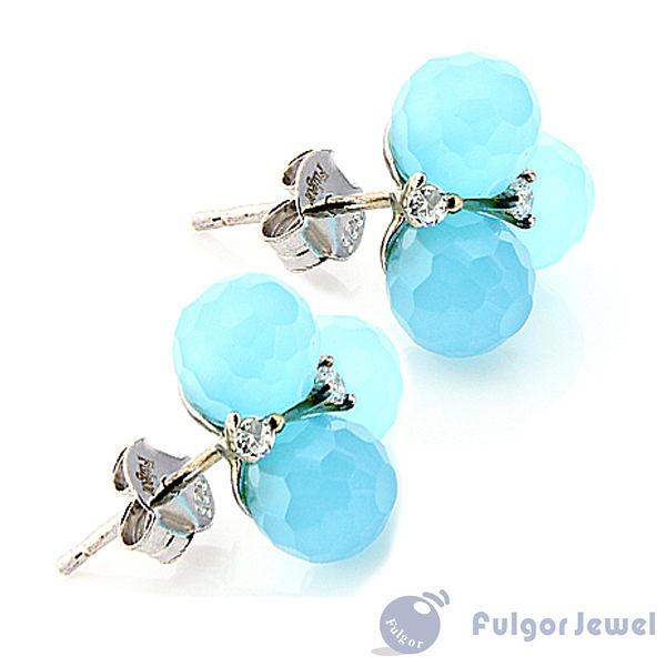 FU銀飾 意大利流行飾品 生日情人節禮品 贈品 古典優雅藍色925純銀耳環【Fulgor Jewel】