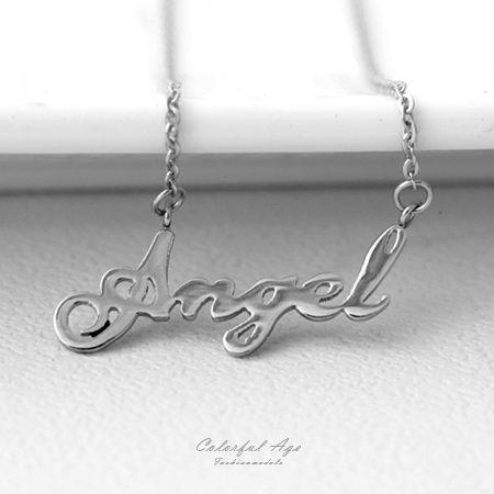 項鍊 甜美細緻Angel字母造型白鋼項鍊 抗過敏.氧化 簡單卻又不失特色 柒彩年代【NB710】秀氣風格
