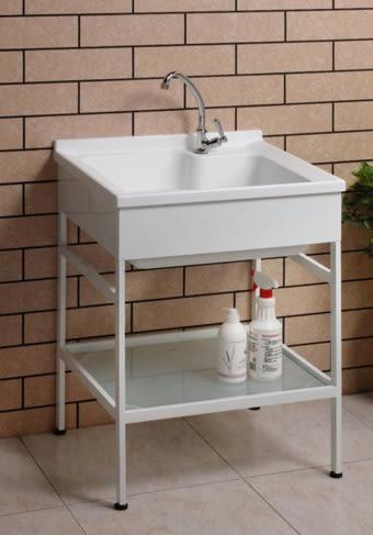【麗室衛浴】台灣優質品牌 實心人造石洗衣槽 C60 + 活動洗衣板 不鏽鋼烤漆置物架 P-361