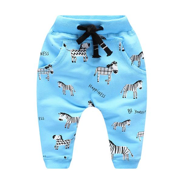 男Baby男童純棉長褲淺藍色斑馬印花休閒褲運動褲現貨歐美品質