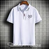 2021夏季新款潮牌刺繡翻領短袖polo衫男韓版修身青年男士半袖T恤 阿卡娜