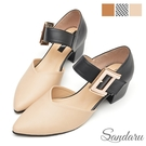 尖頭鞋 時尚大金扣千鳥格低跟鞋-黑米