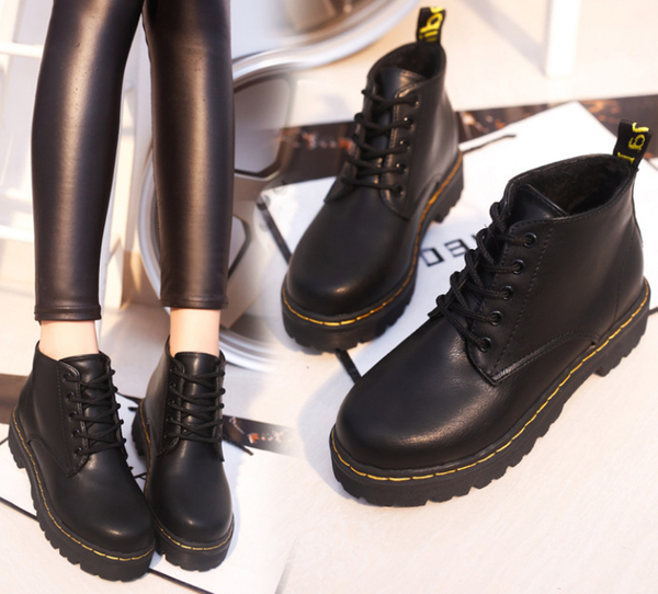女款 日系潮流復古圓頭綁帶低筒 短靴 馬丁靴 59鞋廊