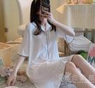 睡裙女夏季簡約白色寬鬆半袖冰絲春秋薄款睡衣仿真絲綢短袖家居服 小時光生活館