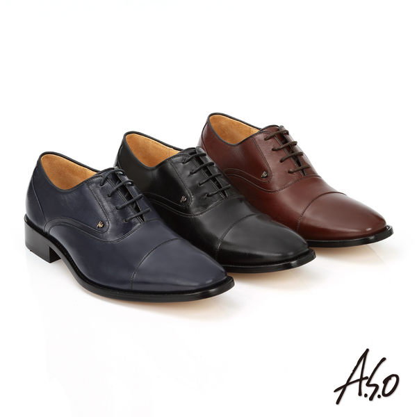 A.S.O 尊榮青紳 牛皮綁帶紳士皮鞋  藍