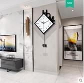 掛鐘客廳家用時尚北歐搖擺鐘錶個性靜音簡約現代掛錶創意藝術時鐘【大號】