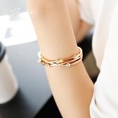 鍍玫瑰金手鐲 女韓版學生森系閨蜜手環 簡約百搭個性潮人情侶飾品       麻吉鋪