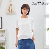 【Tiara Tiara】百貨同步新品aw  圓點點刺繡後蝴蝶結上衣(白/藍)