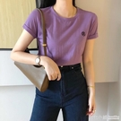 2020夏季新款萬能麻棉上衣女短款設計感基礎款糖果色紫色短袖t恤