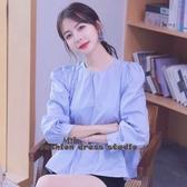 依米迦 襯衫 韓版甜美蓬蓬娃娃衫法式復古泡泡袖上衣長袖寬鬆襯衫