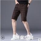 2021年新款夏季休閒短褲男寬松超薄款純棉修身直筒五分格子七分褲 創意新品