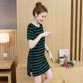 (批發價不退換)6005#2019夏季大碼胖MM短袖條紋連身裙#F-3F139日韓屋