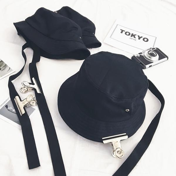 [協貿國際]長帶子盆帽夾子漁夫帽男純色遮陽帽折疊1入