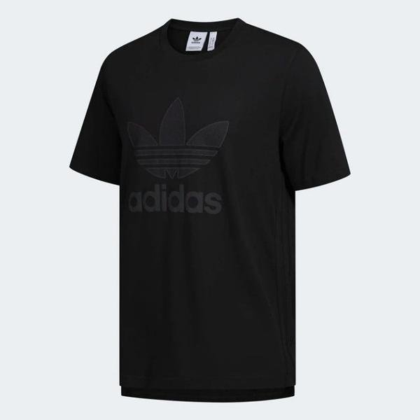 J-adidas Warm Up Tee 全黑 男款 短T 運動全黑 休閒 短袖T恤 三葉草 白標 GK0655