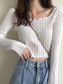 新款秋季設計感小眾心機短款白色上衣長袖打底針織t恤女潮 【99免運】