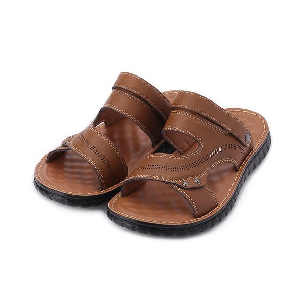 SARTORI 皮革鉚釘兩用涼鞋 棕 男鞋