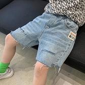 男童牛仔褲 牛仔短褲夏薄款五分2021新款洋氣中大童兒童破洞寬鬆炸街夏裝【快速出貨】