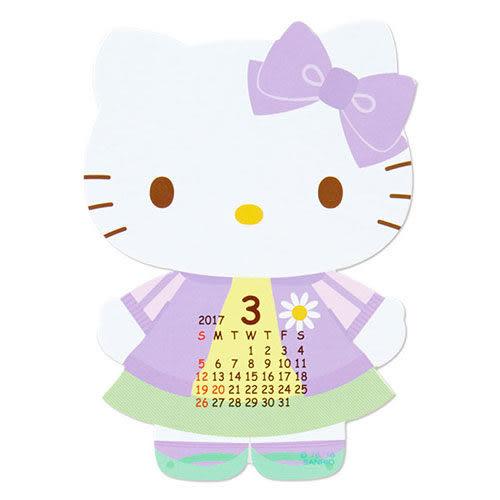 【震撼精品百貨】2017年曆~ HELLO KITTY 2017透明底台造型迷你桌曆
