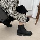 爆款冬季網紅ins款帥氣超纖軟皮橡膠防滑軟底系帶馬丁靴短靴女靴一米陽光