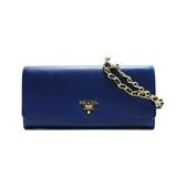 PRADA 普拉達 Wallet with Chain Shoulder Bag 藍色防刮皮革金字LOGO斜背包 BRAND OFF