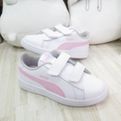 PUMA SMASH V2 L V PS 魔鬼氈 中童鞋 運動鞋 36517328 白x粉【iSport愛運動】