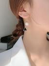耳環 純銀珍珠耳飾女韓國氣質網紅長款圓臉耳墜高級感耳環2021年新款潮 晶彩 99免運