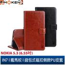 【默肯國際】IN7 瘋馬紋 NOKIA 5.3 (6.55吋) 錢包式 磁扣側掀PU皮套 吊飾孔 手機皮套保護殼