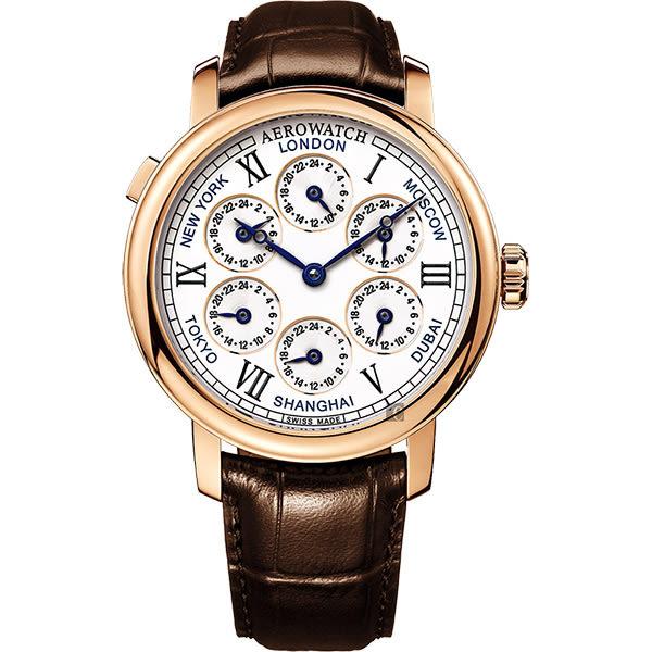 AEROWATCH 文藝復興系列七時區手動上鍊機械腕錶-44mm A51974R101