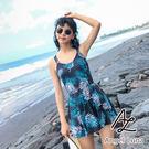 比基尼泳裝-日本品牌AngelLuna 日本直送 深藍葉子印花OnePiece一件式溫泉沙灘泳衣