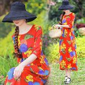 夏新款復古民族風女裝裙子大碼寬鬆花色五分袖棉麻連衣裙顯瘦長裙