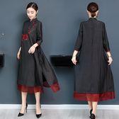 中長裙重工刺繡中國風復古立領五分袖仿真絲連衣裙