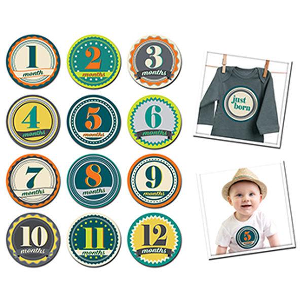 美國 Sticky Bellies寶寶月份貼紙-- 徽章男孩(0-12M)