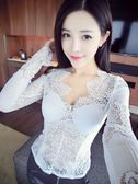 針織衫時尚性感睫毛蕾絲性感透視長袖蕾絲衫上衣 糖糖日系森女屋