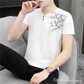 夏季V領短袖T恤男扣子韓版潮流純棉短衫桖體血衫半袖成熟上衣服 阿卡娜