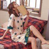 韓版睡裙女純棉短袖可愛清新學生大碼夏天孕婦睡衣甜美中裙子  伊衫風尚