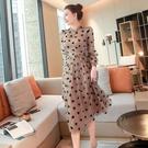 女神范名媛長袖雪紡洋裝2021春季新款氣質高腰顯瘦中長款仙女 快速出貨