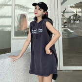 無袖洋裝 大碼連帽揹心港味新款外穿無袖寬鬆復古ins潮中長款t恤女士洋裝 果果生活館