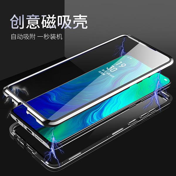 OPPO Reno Z 10倍變焦版 雙面玻璃背蓋 萬磁王手機套 磁吸殼保護套 全包邊手機殼 金屬邊框保護殼