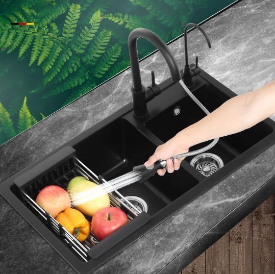 水槽洗菜盆意大利石英石水槽 雙槽 廚房洗菜盆水槽套餐洗碗池水池花崗巖黑色-快速出貨FC