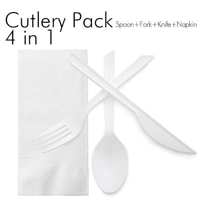四合一餐具組 免洗餐具組 獨立包裝餐包組 免洗湯匙 塑膠餐具 免洗餐具 免洗叉子【W037】