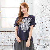 【ef-de】激安 民俗風刺繡綁袖上衣(灰/白/藍)
